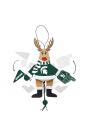 Michigan State Spartans Wooden Cheering Reindeer Ornament