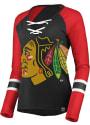 Chicago Blackhawks Womens Majestic Lace-Up V Neck T-Shirt - Black