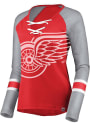 Detroit Red Wings Womens Majestic Lace-Up V Neck T-Shirt - Red
