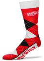 Detroit Red Wings Team Logo Argyle Socks - Red
