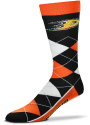 Anaheim Ducks Team Logo Argyle Socks - Black