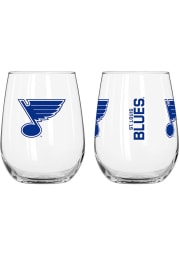 St Louis Blues 16 OZ Gameday Curved Stemless Wine Glass