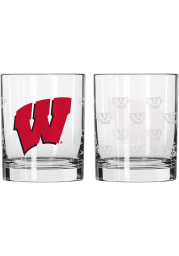 Wisconsin Badgers 14OZ Satin Etch Rock Glass