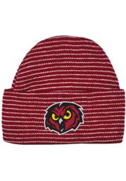 Temple Owls Crimson Stripe Newborn Knit Hat