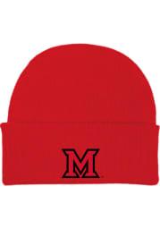 Miami RedHawks Red Cuffed Newborn Knit Hat