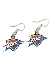 Oklahoma City Thunder Silver Logo Dangle Womens Earrings