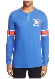 Junk Food Clothing New York Giants Blue Huddle Henley Long Sleeve Fashion T Shirt