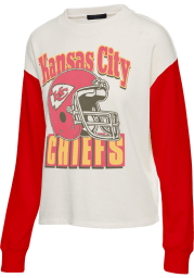 Junk Food Clothing Kansas City Chiefs Womens White Contrast Crew Sweatshirt