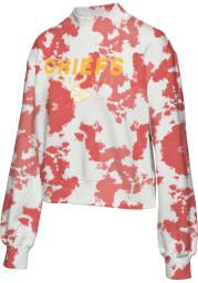 Junk Food Clothing Kansas City Chiefs Womens Red Tie Dye Crew Sweatshirt