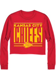 Junk Food Clothing Kansas City Chiefs Womens Red Cropped LS Tee