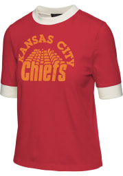 Junk Food Clothing Kansas City Chiefs Womens Red Ringer Short Sleeve T-Shirt