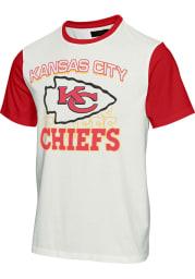 Junk Food Clothing Kansas City Chiefs White Color Block Short Sleeve Fashion T Shirt