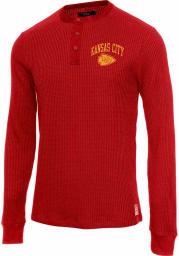 Junk Food Clothing Kansas City Chiefs Red Thermal Henley Long Sleeve Fashion T Shirt