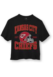 Junk Food Clothing Kansas City Chiefs Womens Black Helmet Short Sleeve T-Shirt