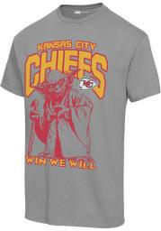 Junk Food Clothing Kansas City Chiefs Grey YODA WIN WE WILL Short Sleeve Fashion T Shirt
