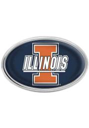 Illinois Fighting Illini Blue Domed Oval Car Emblem - Navy Blue