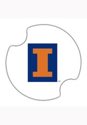 Illinois Fighting Illini Ceramic 2 Pack Car Coaster - White