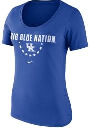 Nike Kentucky Wildcats Womens Blue Basketball Team Scoop Neck Short Sleeve T-Shirt