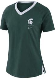 Nike Michigan State Spartans Womens Green Basketball Fan Short Sleeve T-Shirt