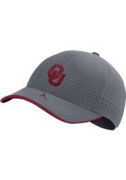 Nike Oklahoma Sooners Jordan Aero L91 Sideline Adjustable Hat - Grey