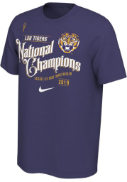 Nike LSU Tigers Purple 2019 National Champions Short Sleeve T Shirt