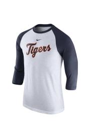 Nike Detroit Tigers White 3/4 Raglan Wordmark Long Sleeve Fashion T Shirt