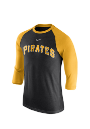 Nike Pittsburgh Pirates Black 3/4 Raglan Wordmark Long Sleeve Fashion T Shirt