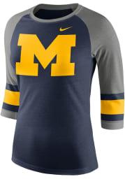 Nike Michigan Wolverines Womens Navy Blue Stipe Sleeve Raglan Long Sleeve Crew T-Shirt