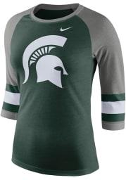 Nike Michigan State Spartans Womens Green Stipe Sleeve Raglan Long Sleeve Crew T-Shirt