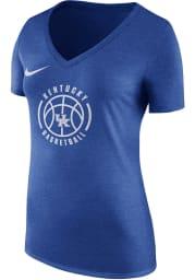 Nike Kentucky Wildcats Womens Blue Bball Logo V-Neck T-Shirt