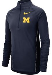 Nike Michigan Womens Navy Blue Top 1/2 Zip 1/4 Zip Pullover