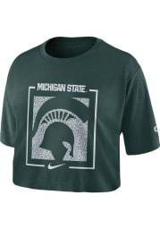 Nike Michigan State Spartans Womens Green Dri-FIT Crop Short Sleeve T-Shirt