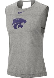 Nike K-State Wildcats Womens Grey Breathe Dri-FIT Cut Out Tank Top