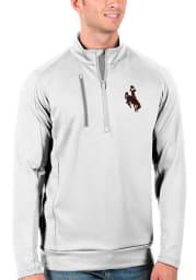 Antigua Wyoming Cowboys Mens White Generation Long Sleeve 1/4 Zip Pullover
