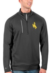 Antigua Wyoming Cowboys Mens Grey Generation Long Sleeve 1/4 Zip Pullover