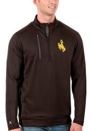 Antigua Wyoming Cowboys Mens Brown Generation Long Sleeve 1/4 Zip Pullover
