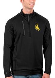 Antigua Wyoming Cowboys Mens Black Generation Long Sleeve 1/4 Zip Pullover