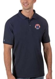 Antigua Washington Wizards Mens Navy Blue Legacy Pique Short Sleeve Polo
