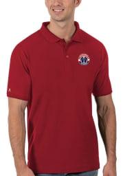 Antigua Washington Wizards Mens Red Legacy Pique Short Sleeve Polo