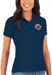 Antigua Washington Wizards Womens Navy Blue Legacy Pique Short Sleeve Polo Shirt