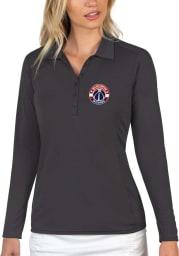 Antigua Washington Wizards Womens Grey Tribute Long Sleeve Polo Shirt