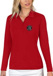 Antigua Toronto Raptors Womens Red Tribute Long Sleeve Polo Shirt