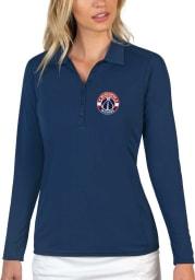 Antigua Washington Wizards Womens Navy Blue Tribute Long Sleeve Polo Shirt