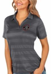 Antigua Toronto Raptors Womens Grey Compass Short Sleeve Polo Shirt
