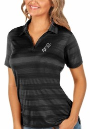 Antigua San Antonio Spurs Womens Black Compass Short Sleeve Polo Shirt
