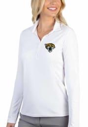 Antigua Jacksonville Jaguars Womens White Tribute Long Sleeve Polo Shirt