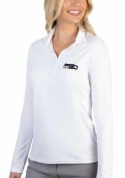 Antigua Seattle Seahawks Womens White Tribute Long Sleeve Polo Shirt