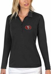 Antigua San Francisco 49ers Womens Black Tribute Long Sleeve Polo Shirt