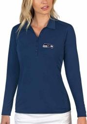Antigua Seattle Seahawks Womens Navy Blue Tribute Long Sleeve Polo Shirt