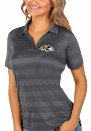 Antigua Baltimore Ravens Womens Grey Compass Short Sleeve Polo Shirt